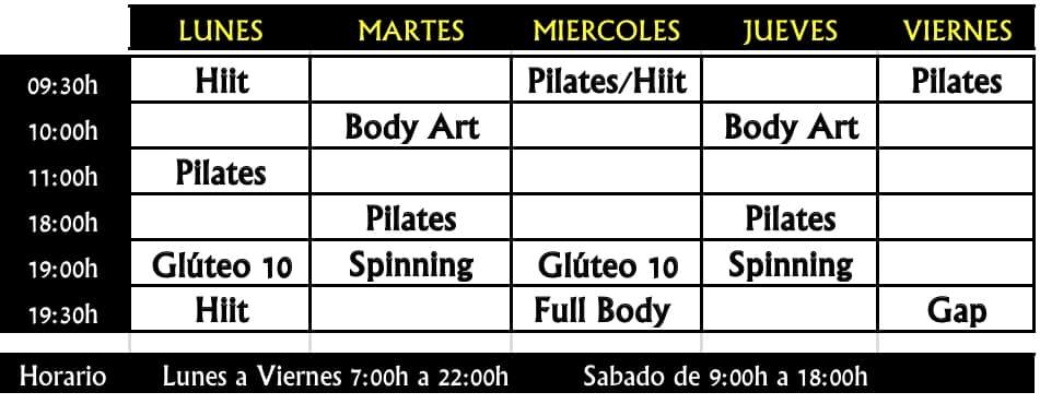 FitGym Altea Class Times