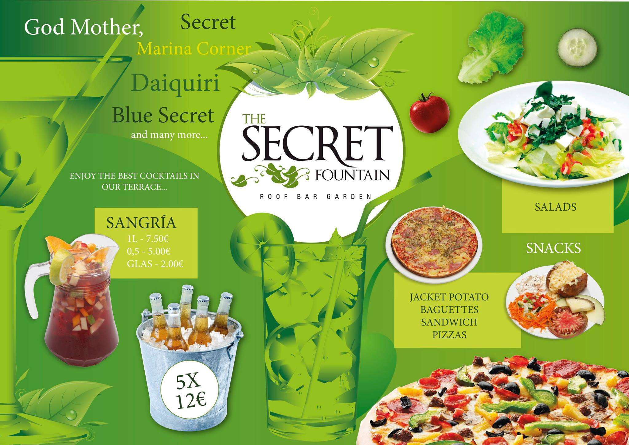 The Secret Fountain drinks food offer